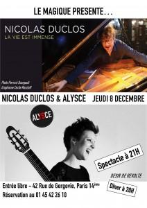 8 décembre - nicolas et alysce en concert au magique