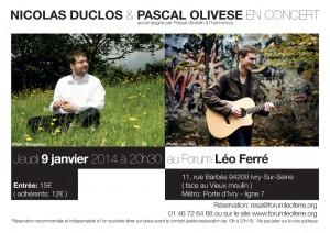 nicolasduclos_pascalolivese_concert9janvier2014_forumleoferre_flyer